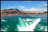 Watersports on Lake Mead, largest manmade lake in the nation, with an estimated 15 million fish